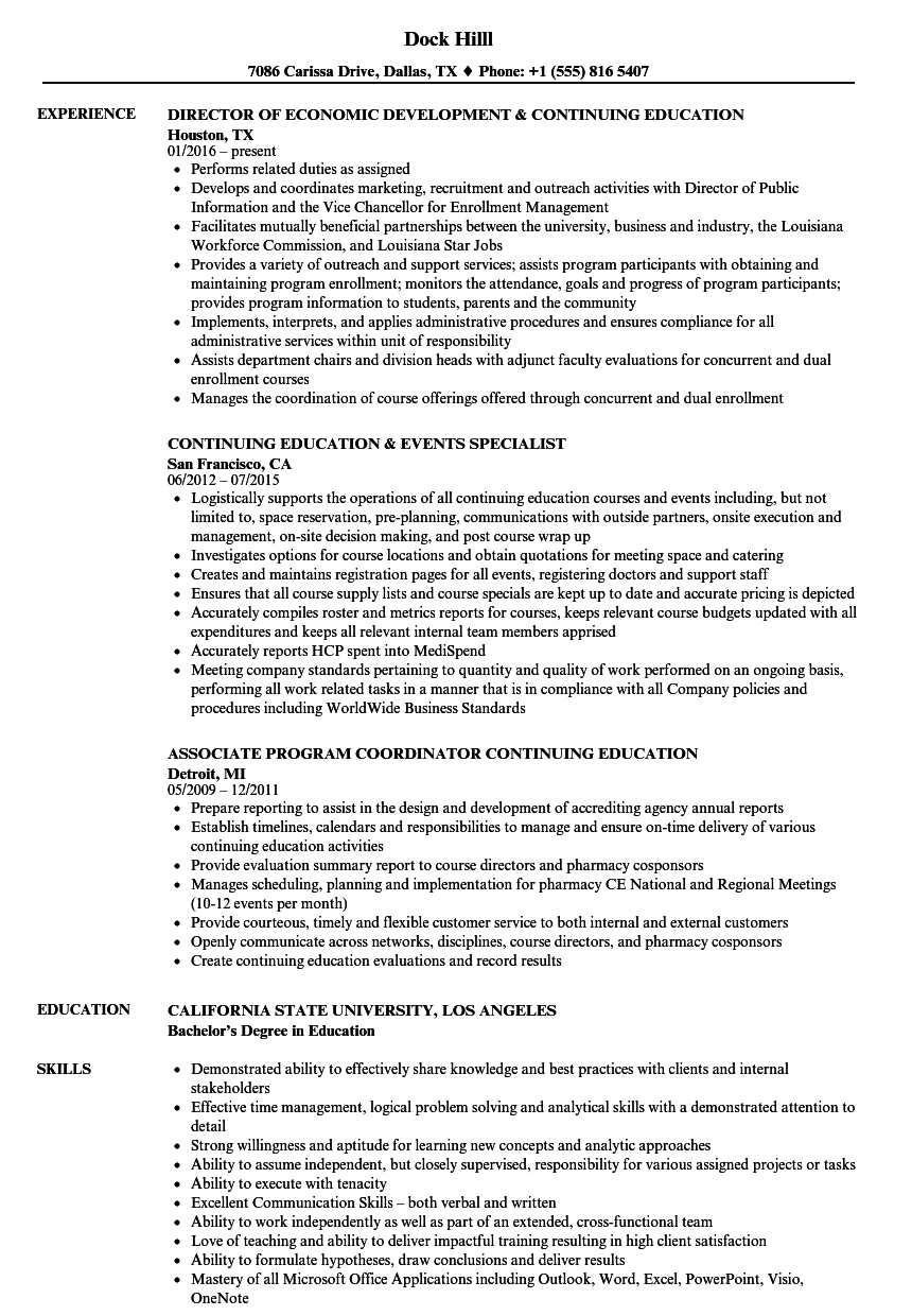 continuing education resume samples