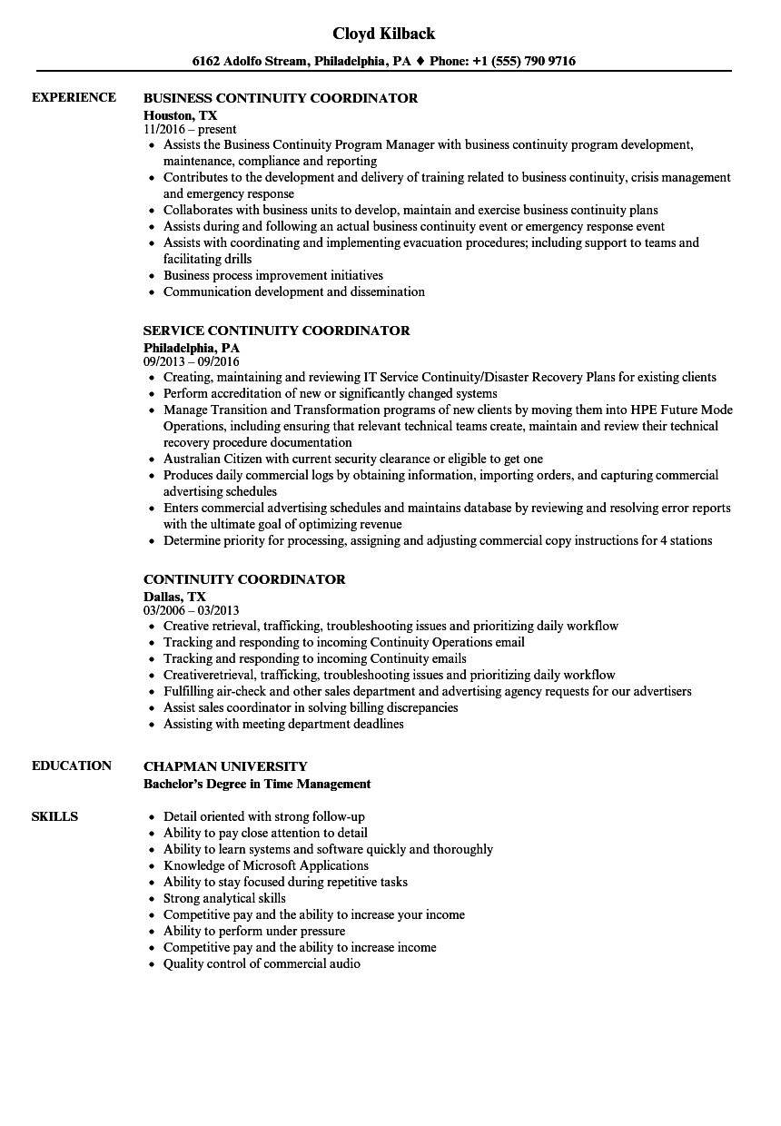 Continuity Coordinator Resume Samples | Velvet Jobs