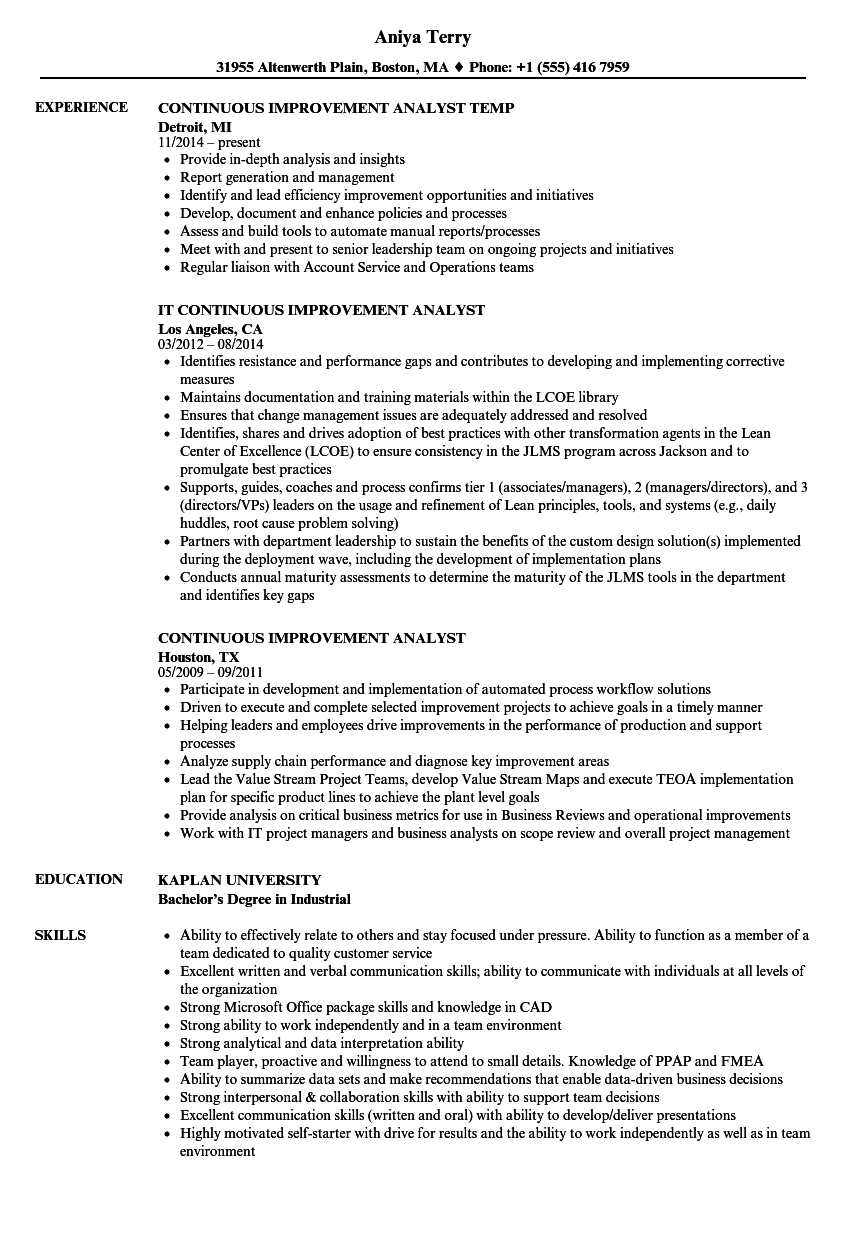 Continuous Improvement Analyst Resume Samples | Velvet Jobs