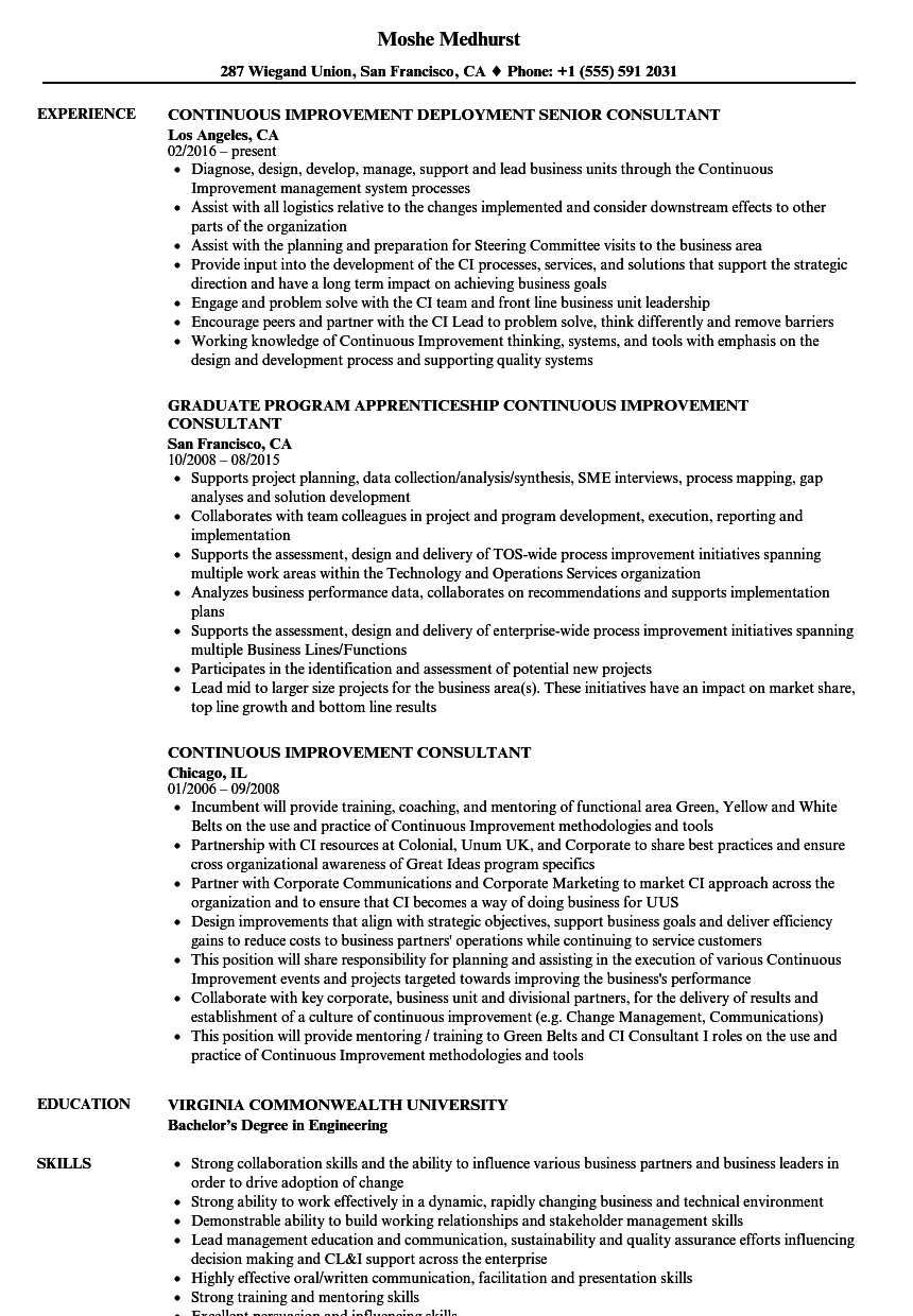Continuous Improvement Consultant Resume Samples | Velvet Jobs