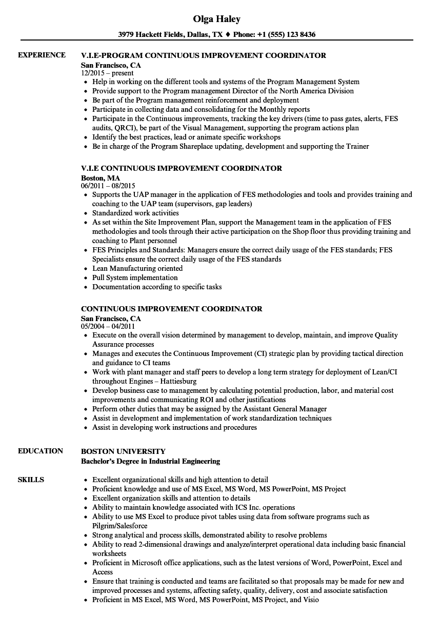 Continuous Improvement Coordinator Resume Samples | Velvet Jobs