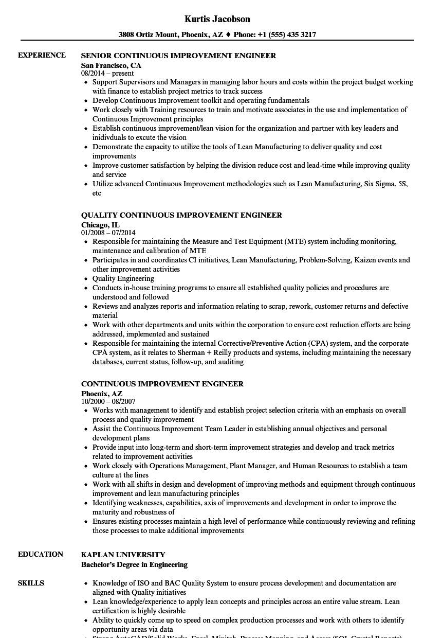 Continuous Improvement Engineer Resume Samples | Velvet Jobs