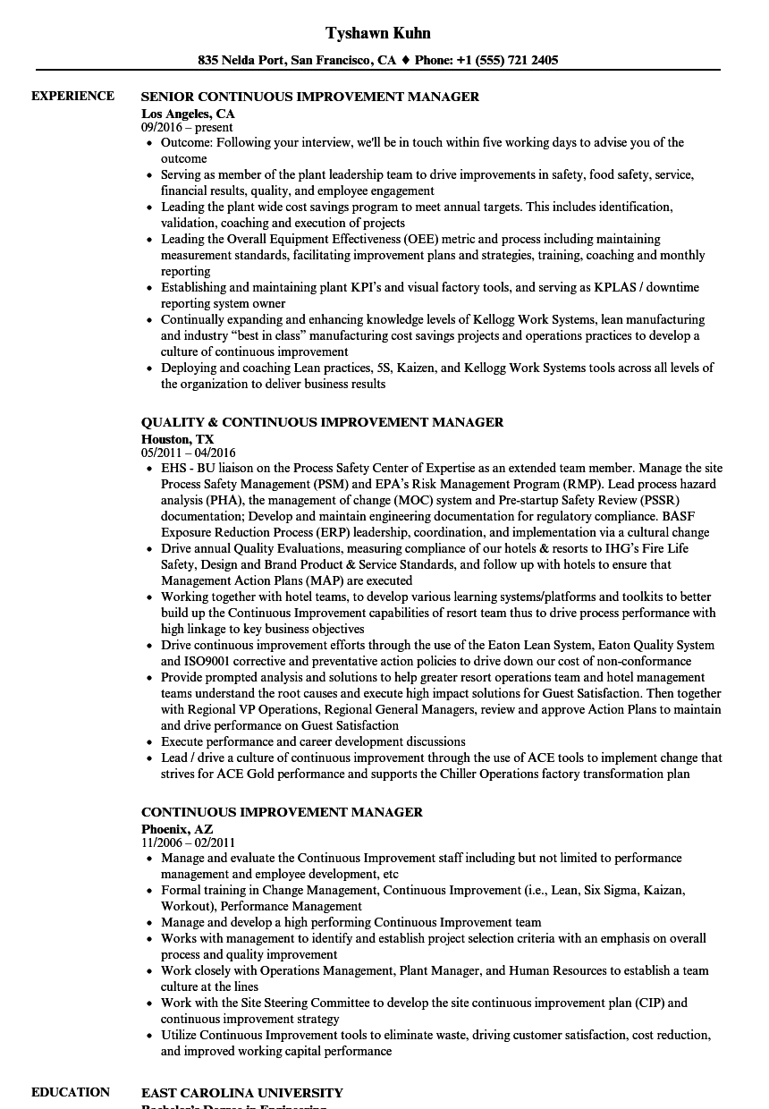 Continuous Improvement Manager Resume Samples | Velvet Jobs
