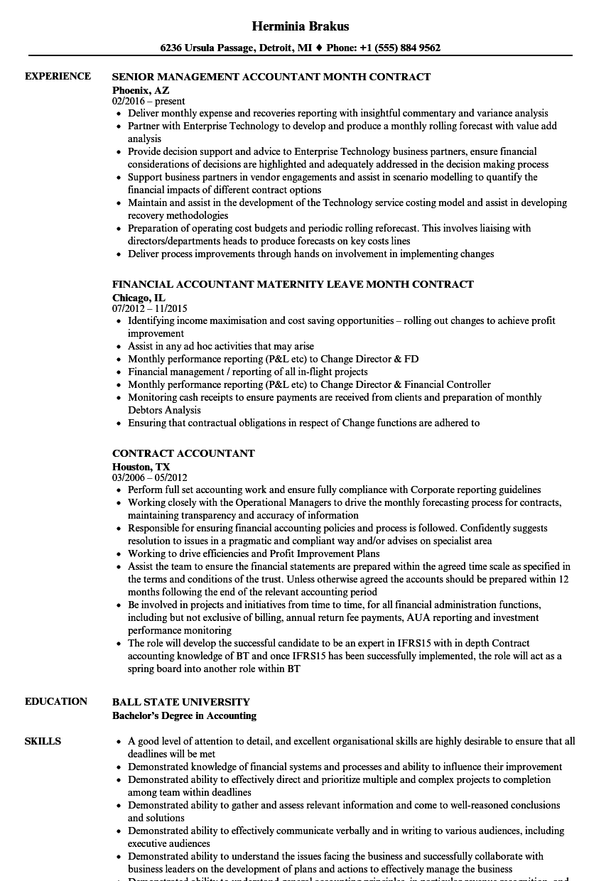 Contract Accountant Resume Samples | Velvet Jobs