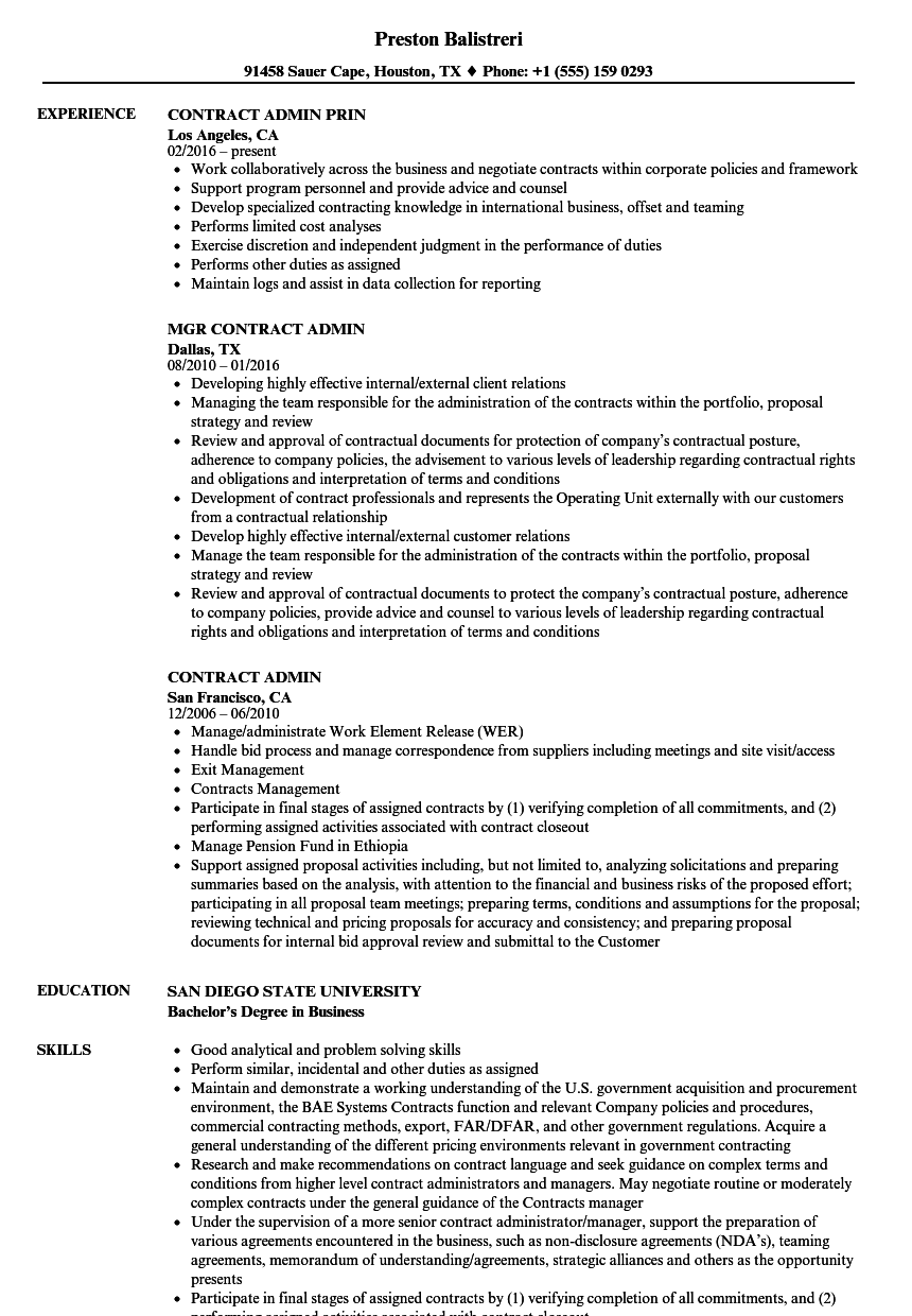 Contract Admin Resume Samples Velvet Jobs