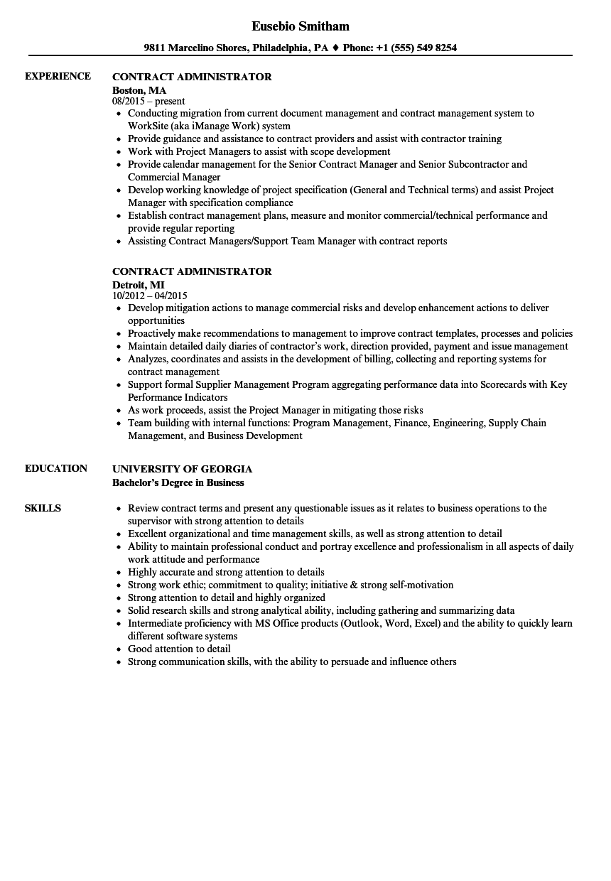 contract administrator resume samples