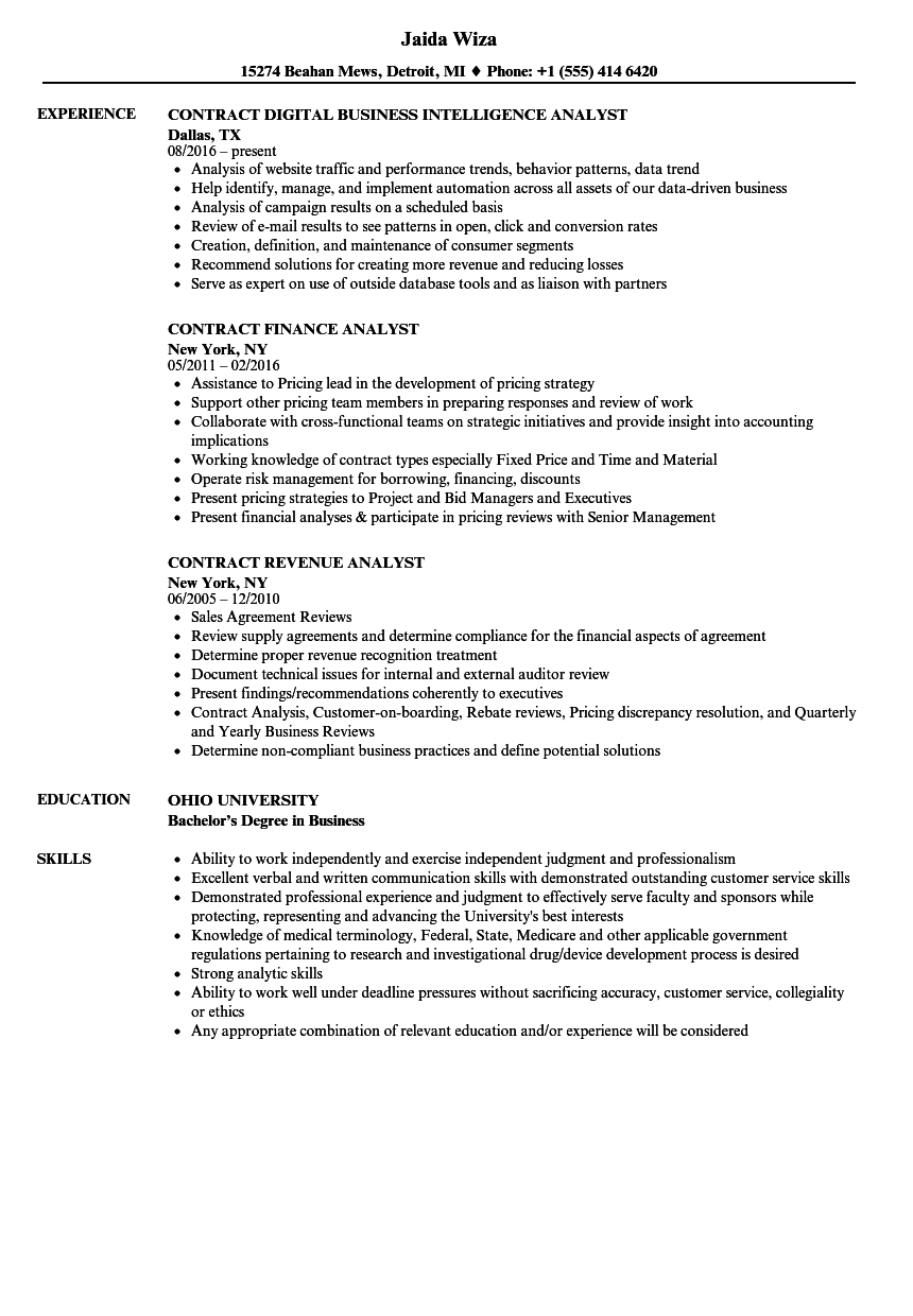 Contract Analyst, / Contract Analyst Resume Samples | Velvet Jobs