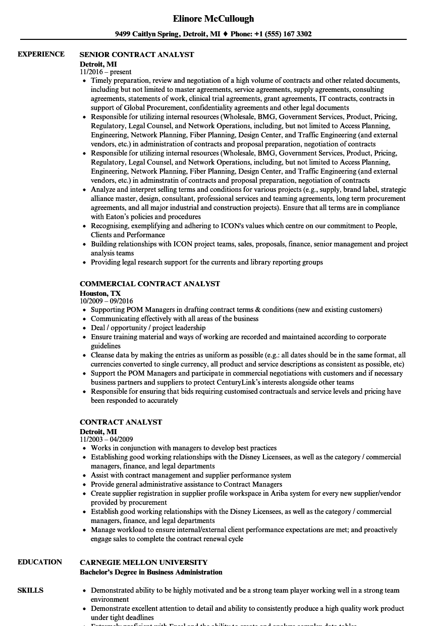 Contract Analyst Resume Samples Velvet Jobs