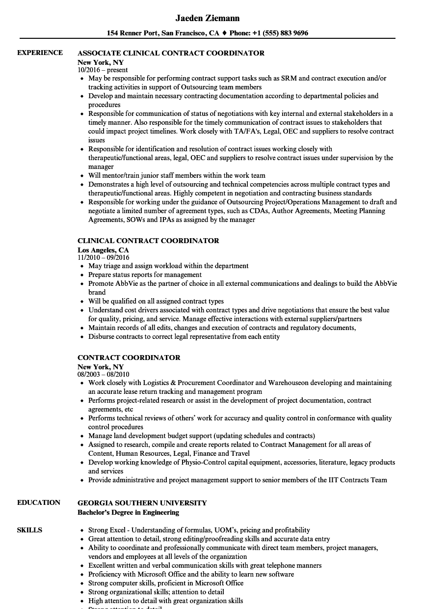contract coordinator resume samples
