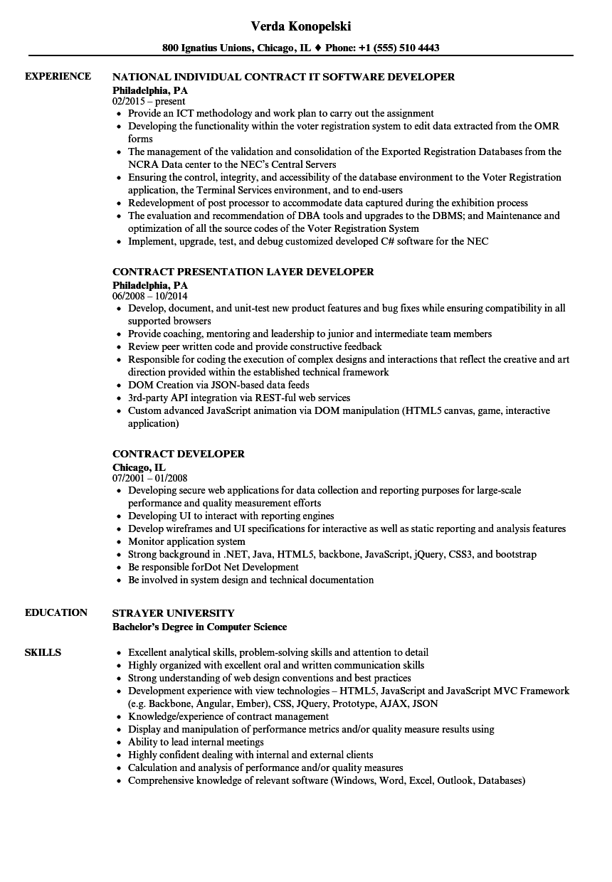 Download Contract Developer Resume Sample As Image File
