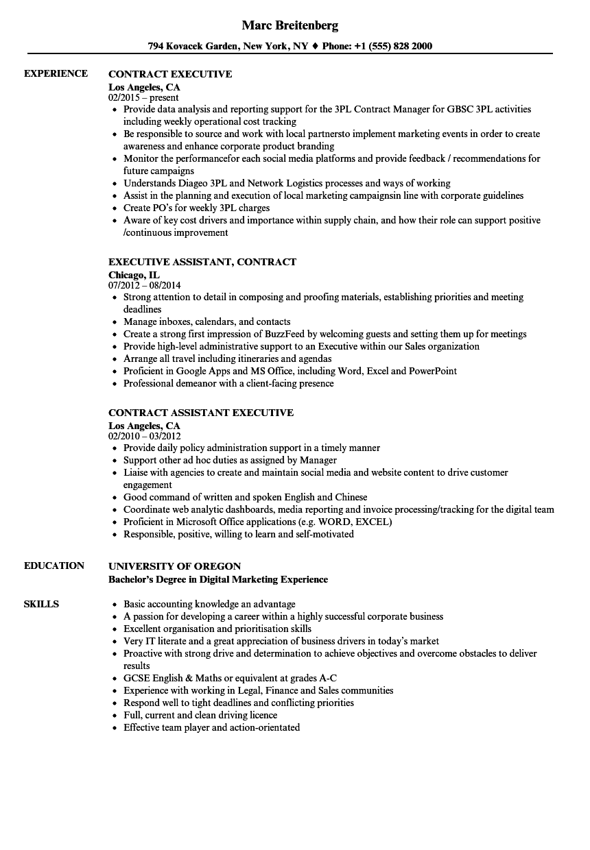 download contract executive resume sample as image file - Resume Samples