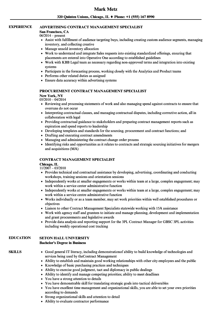 Contract Management Specialist Resume Samples Velvet Jobs