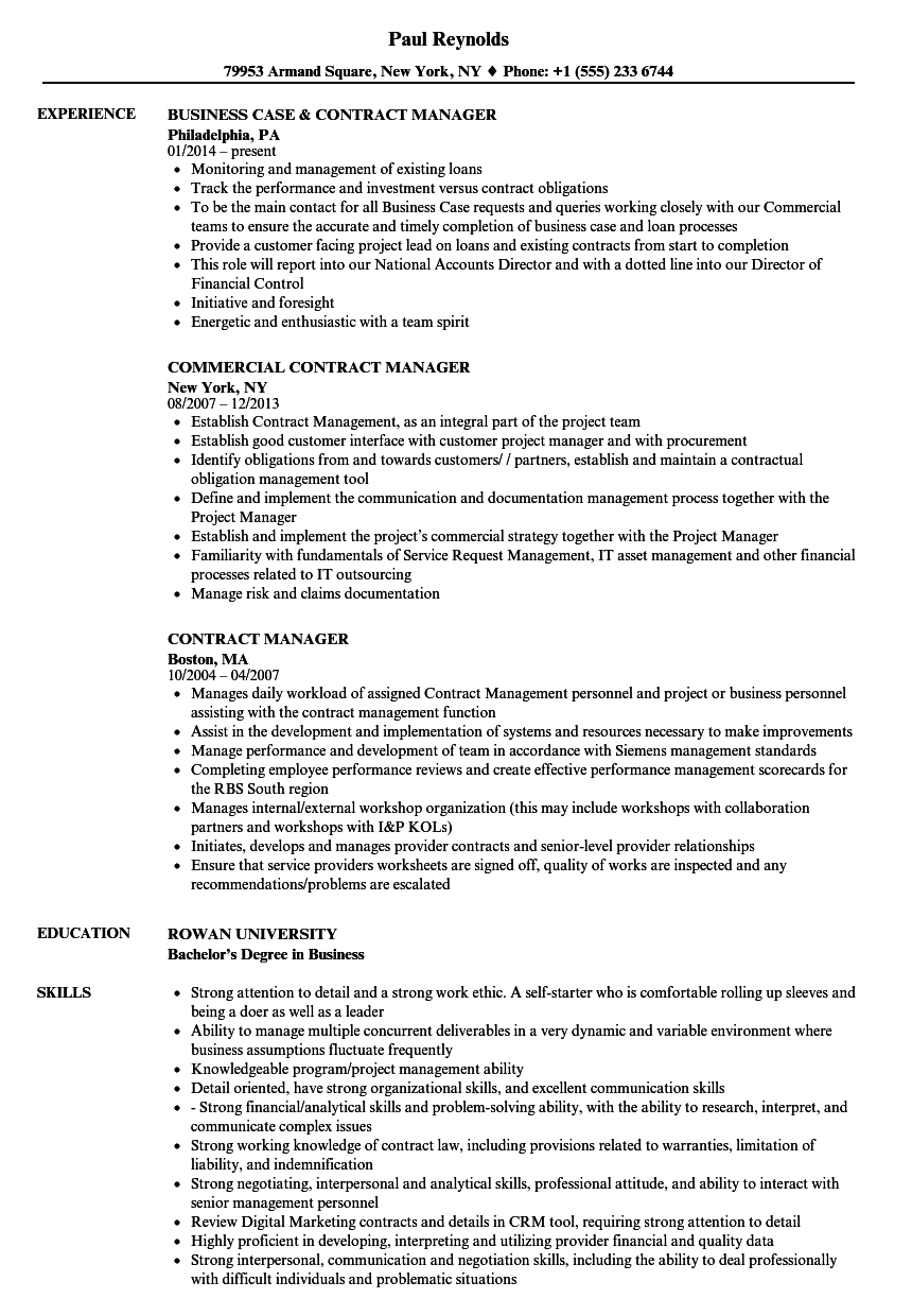 Contract Manager Resume Samples | Velvet Jobs