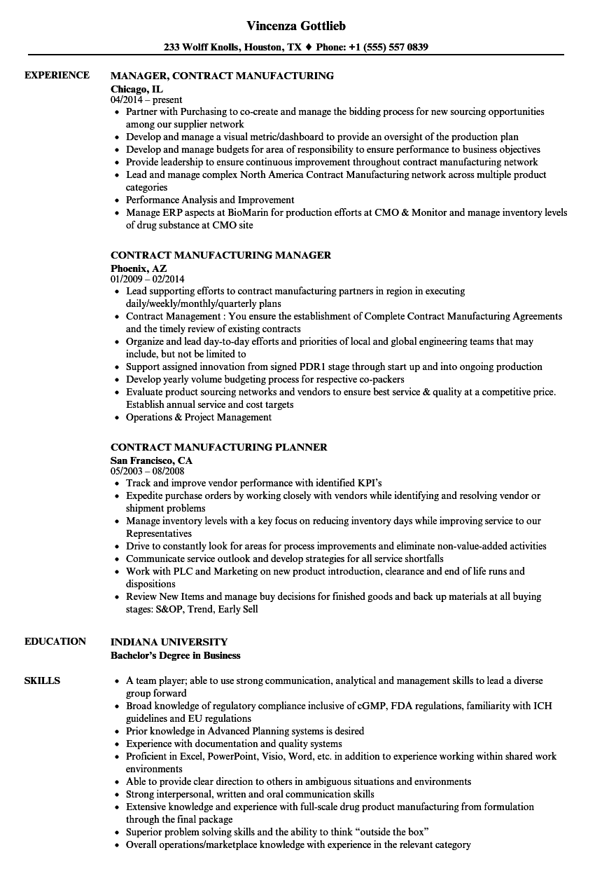Contract Manufacturing Resume Samples Velvet Jobs