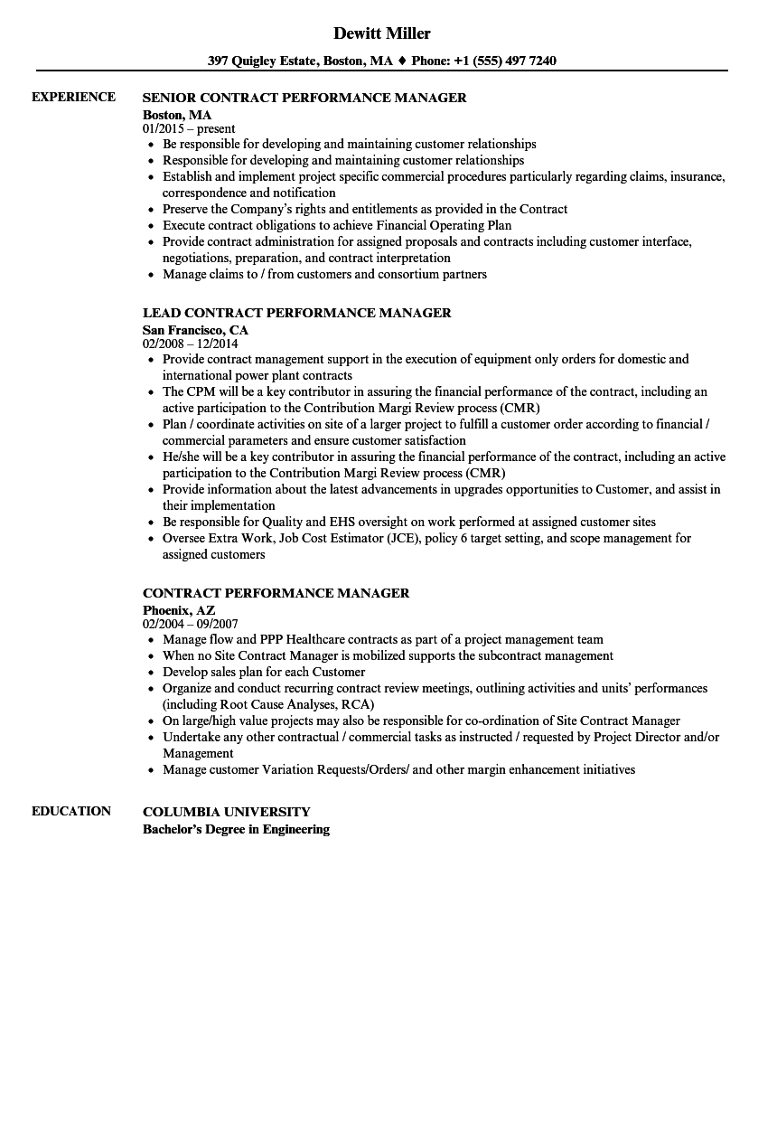 contract performance manager resume samples