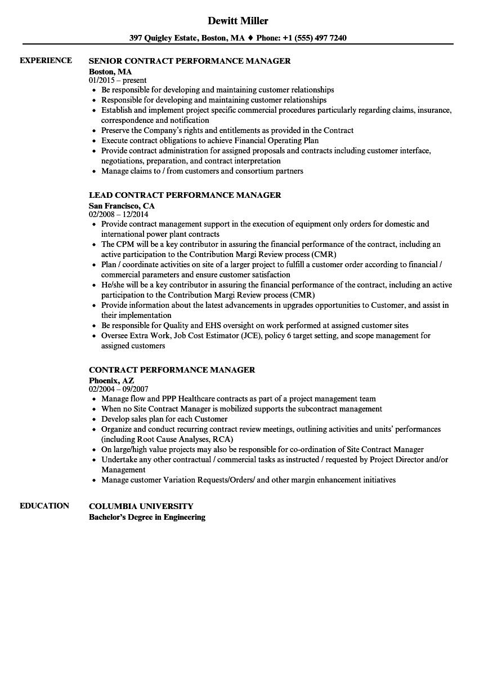 Contract Performance Manager Resume Samples | Velvet Jobs