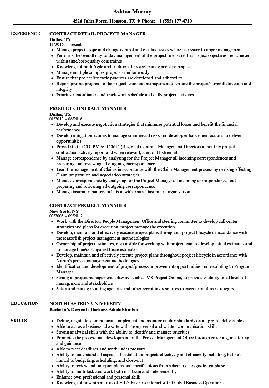 Contract Project Manager Resume Samples | Velvet Jobs
