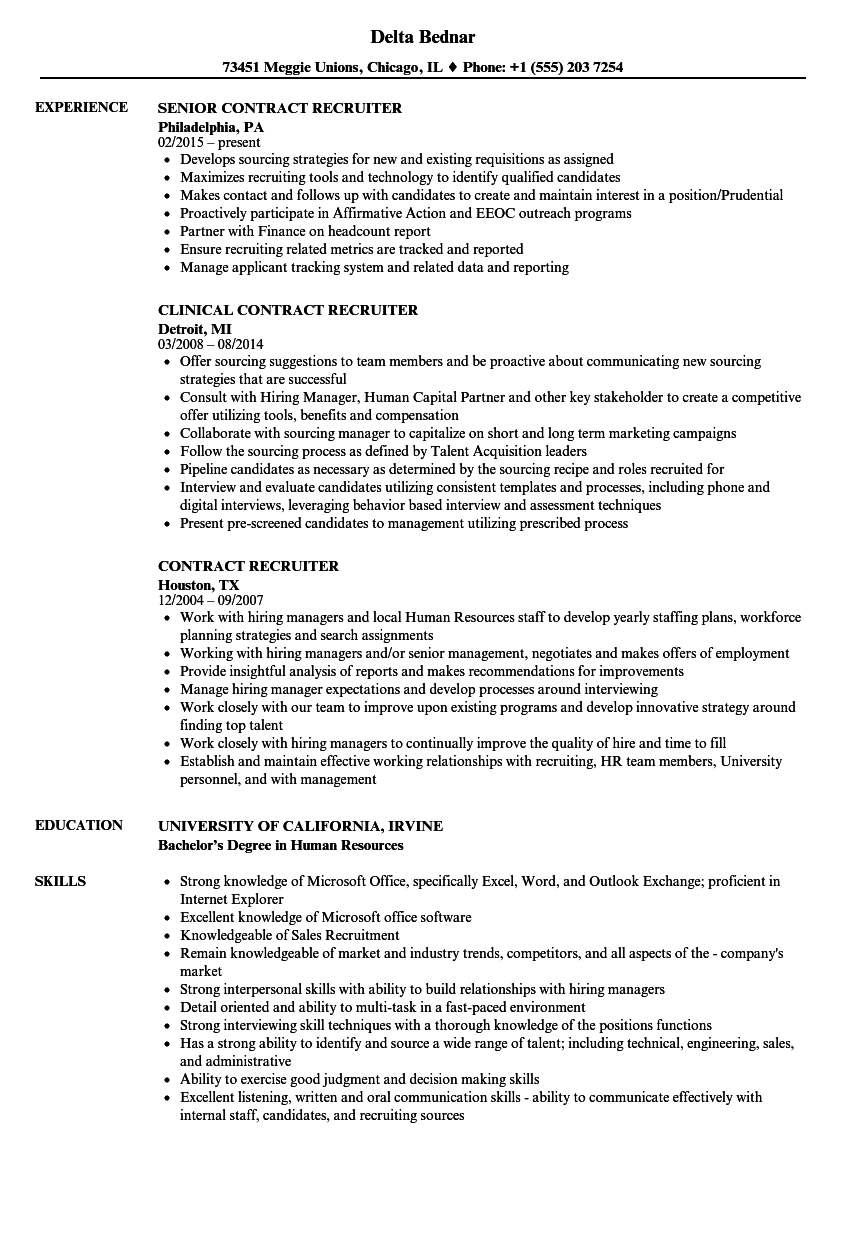 Contract Recruiter Resume Samples Velvet Jobs