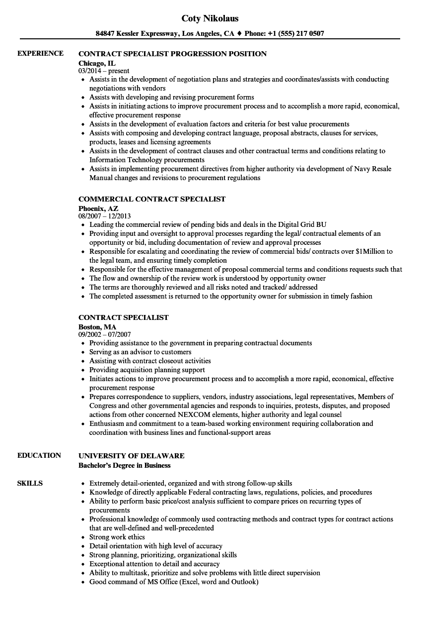 resume Sample Contract Specialist Resume contract specialist resume samples velvet jobs download sample as image file