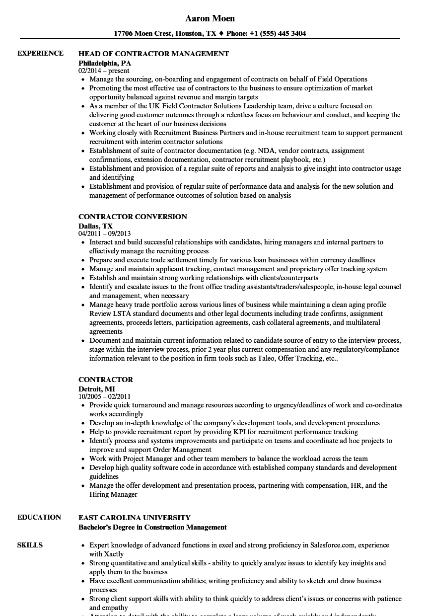Contractor Resume Samples Velvet Jobs