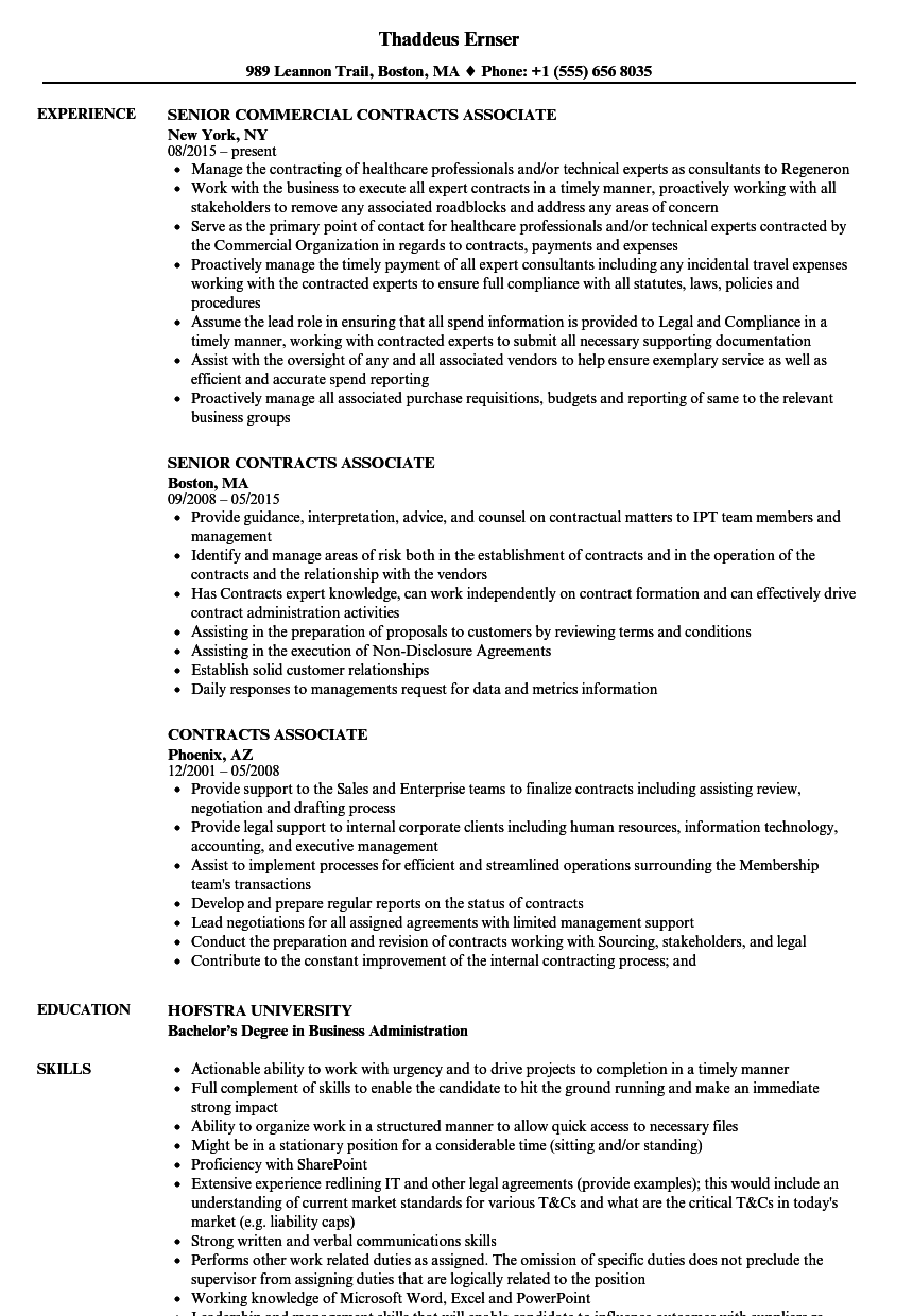 contracts associate resume samples