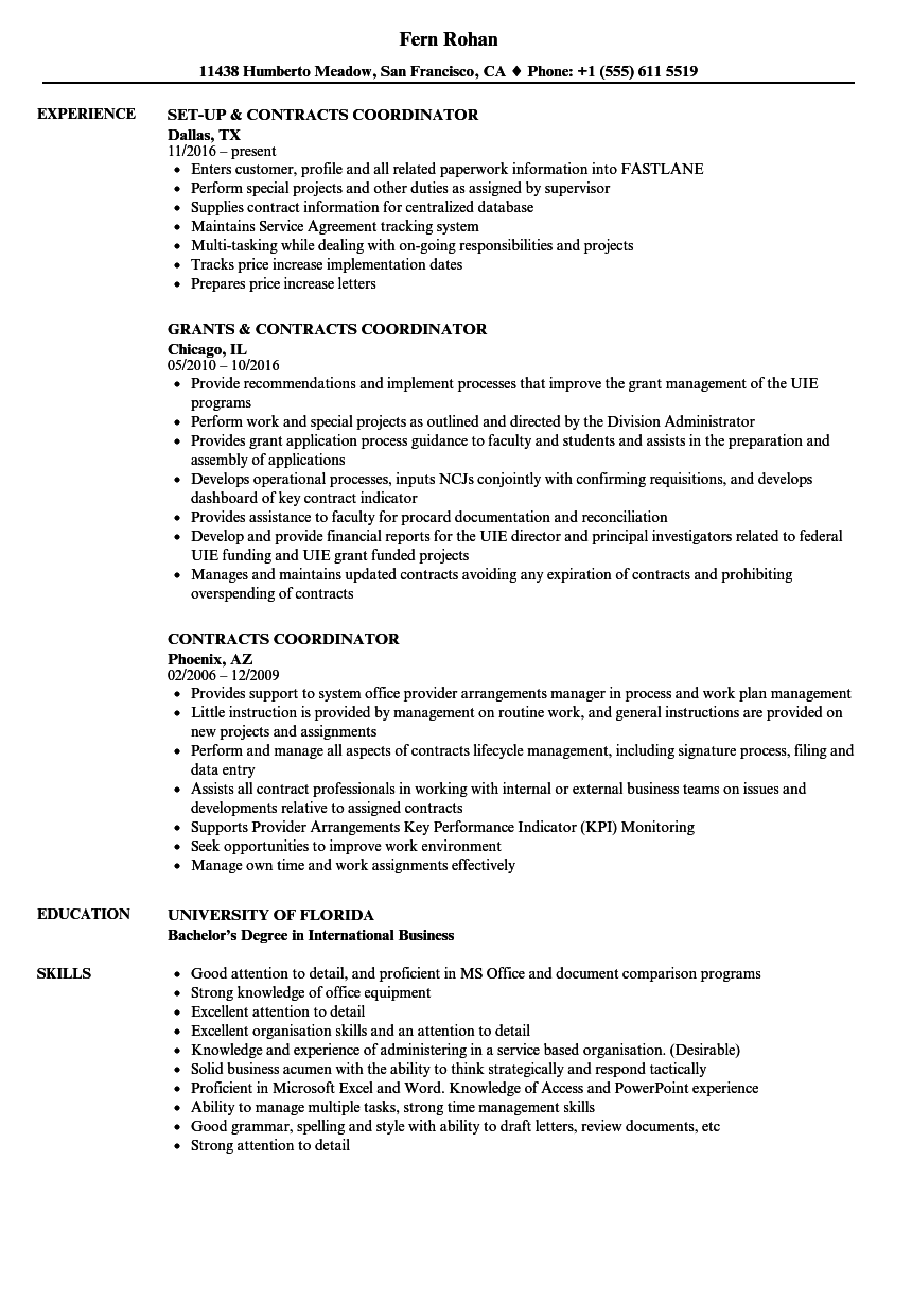 Contracts Coordinator Resume Samples