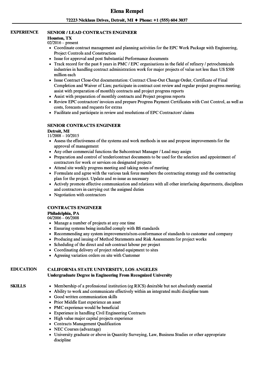 Contracts Engineer Resume Samples Velvet Jobs