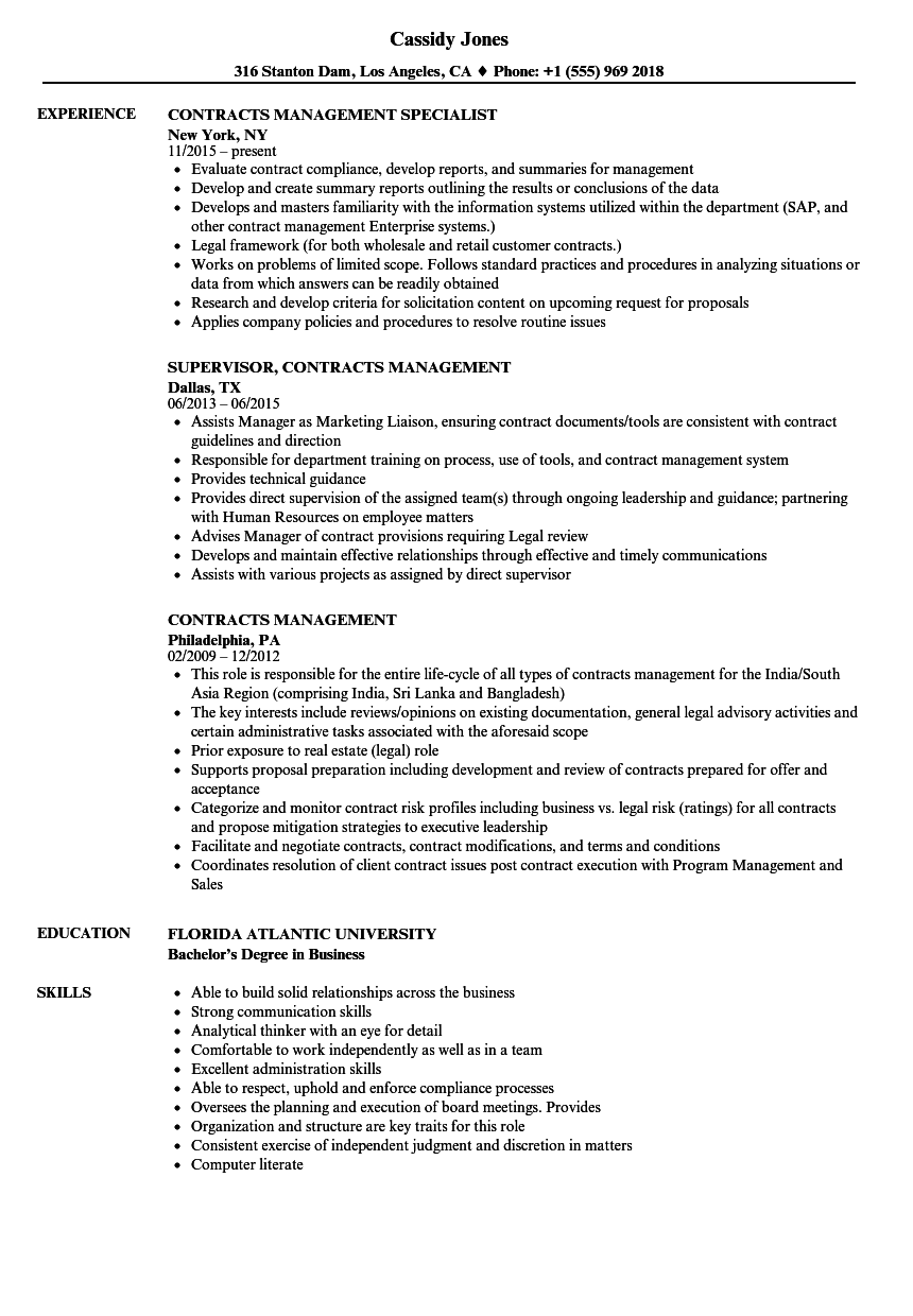 contracts management resume samples
