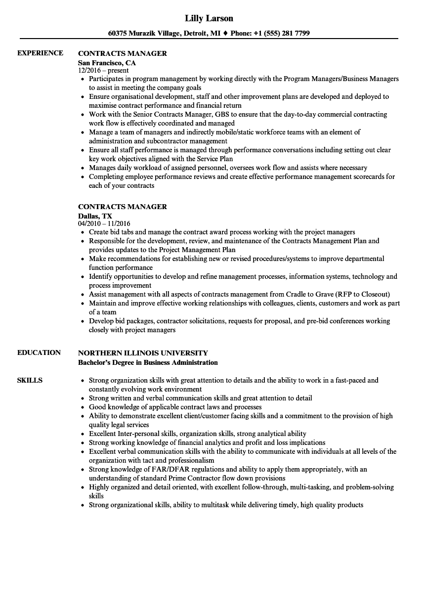 contracts manager resume samples