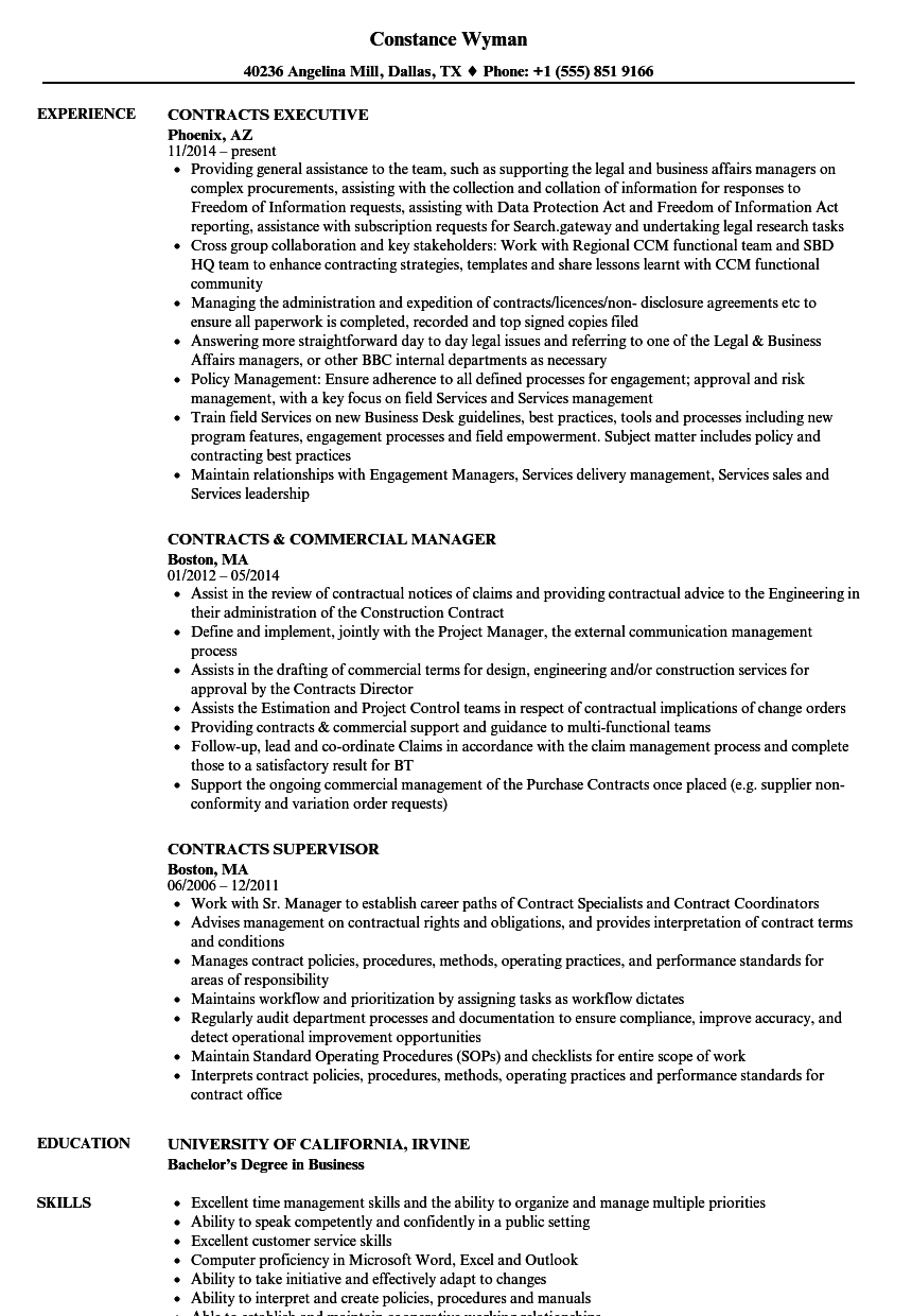 contracts resume samples