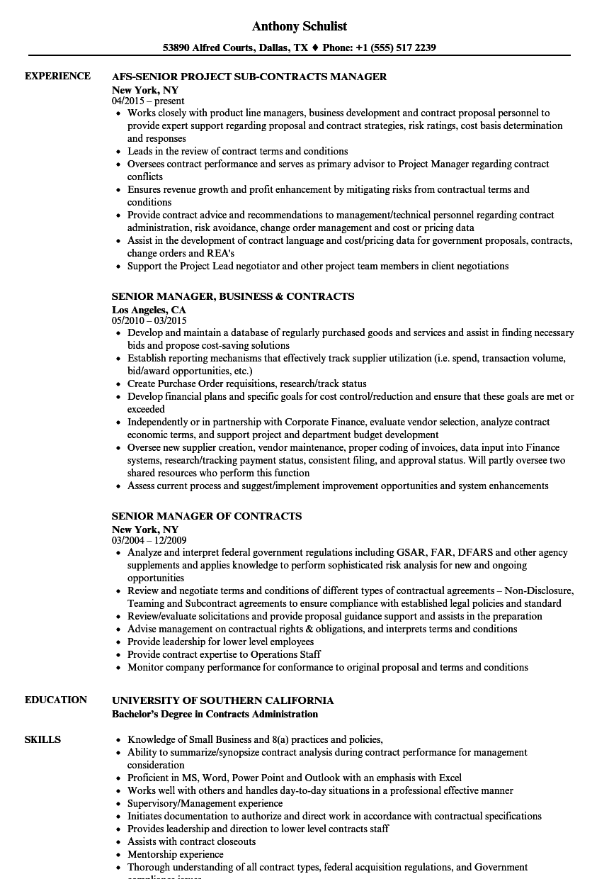 contracts senior manager resume samples
