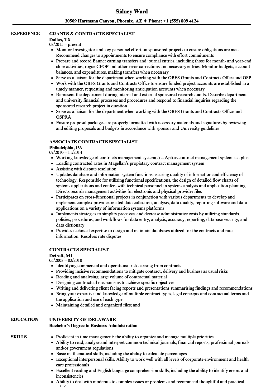 contracts specialist resume samples