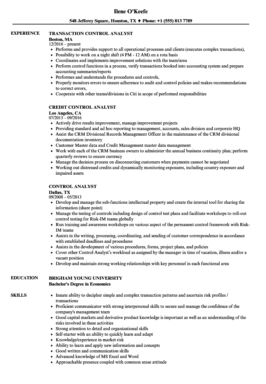control analyst resume samples