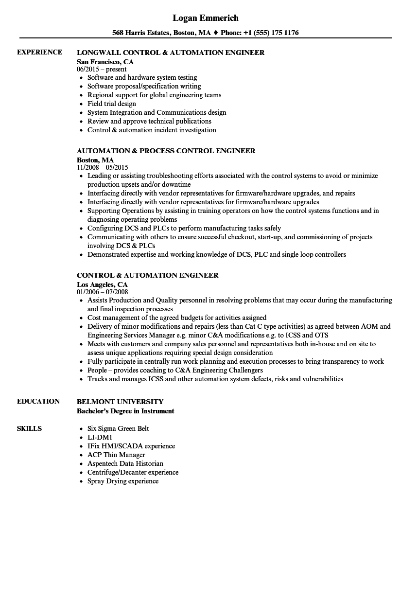 Control & Automation Engineer Resume Samples | Velvet Jobs