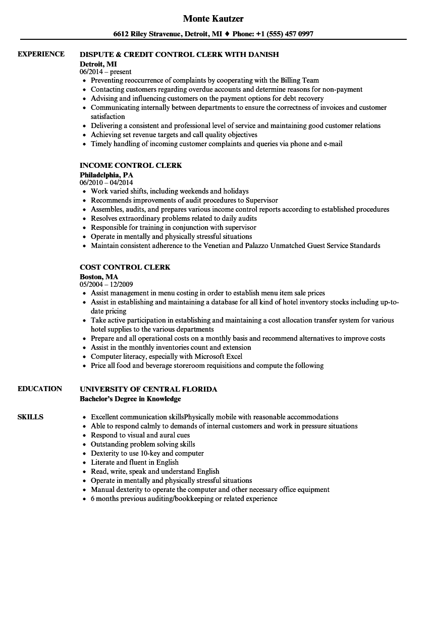 control clerk resume samples