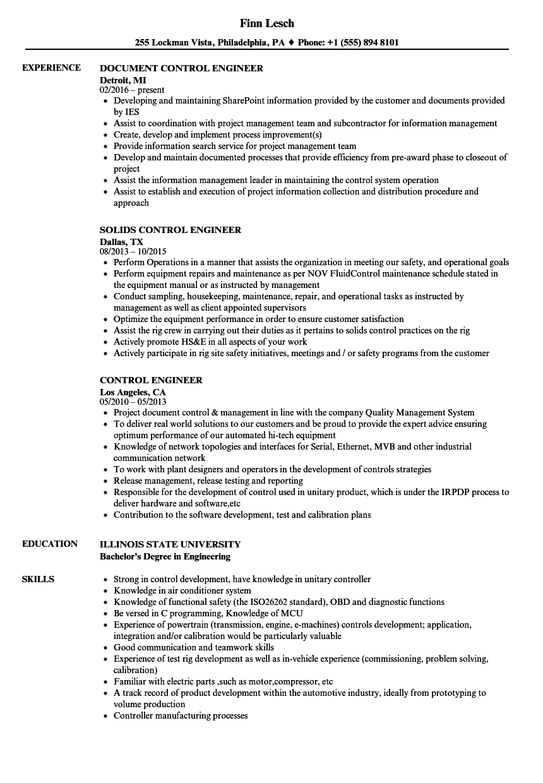 Control Engineer Resume Samples | Velvet Jobs