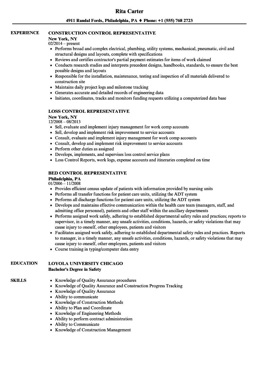 Control Representative Resume Samples   Velvet Jobs