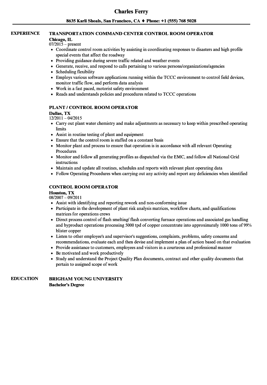 Download Control Room Operator Resume Sample As Image File