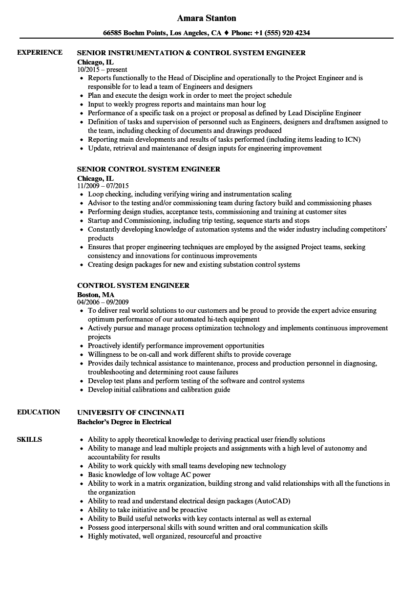 control system engineer resume samples