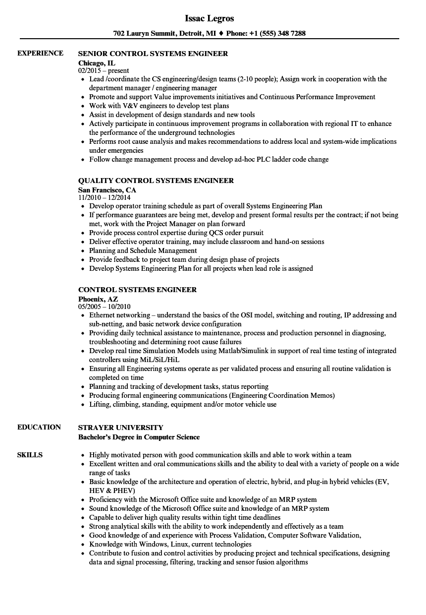 download control systems engineer resume sample as image file - Control Systems Engineer Sample Resume