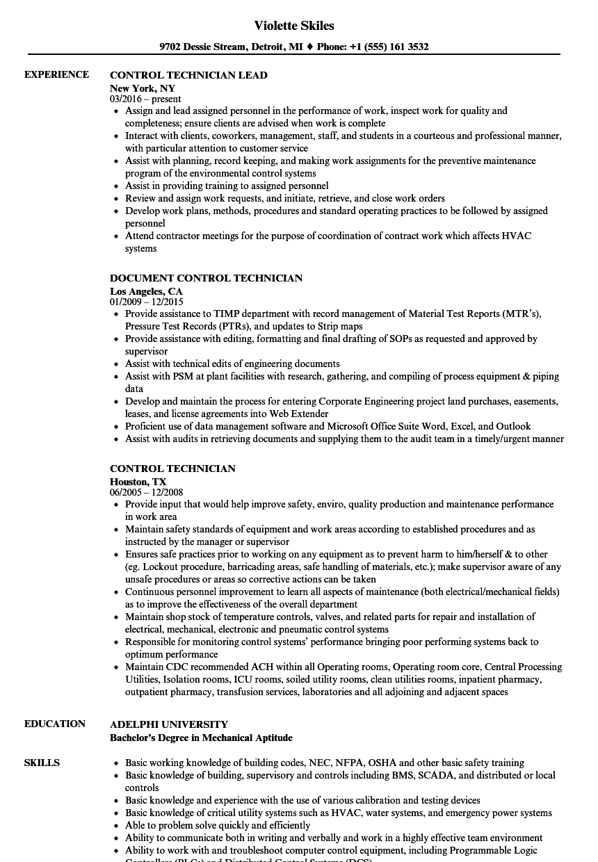 control technician resume samples