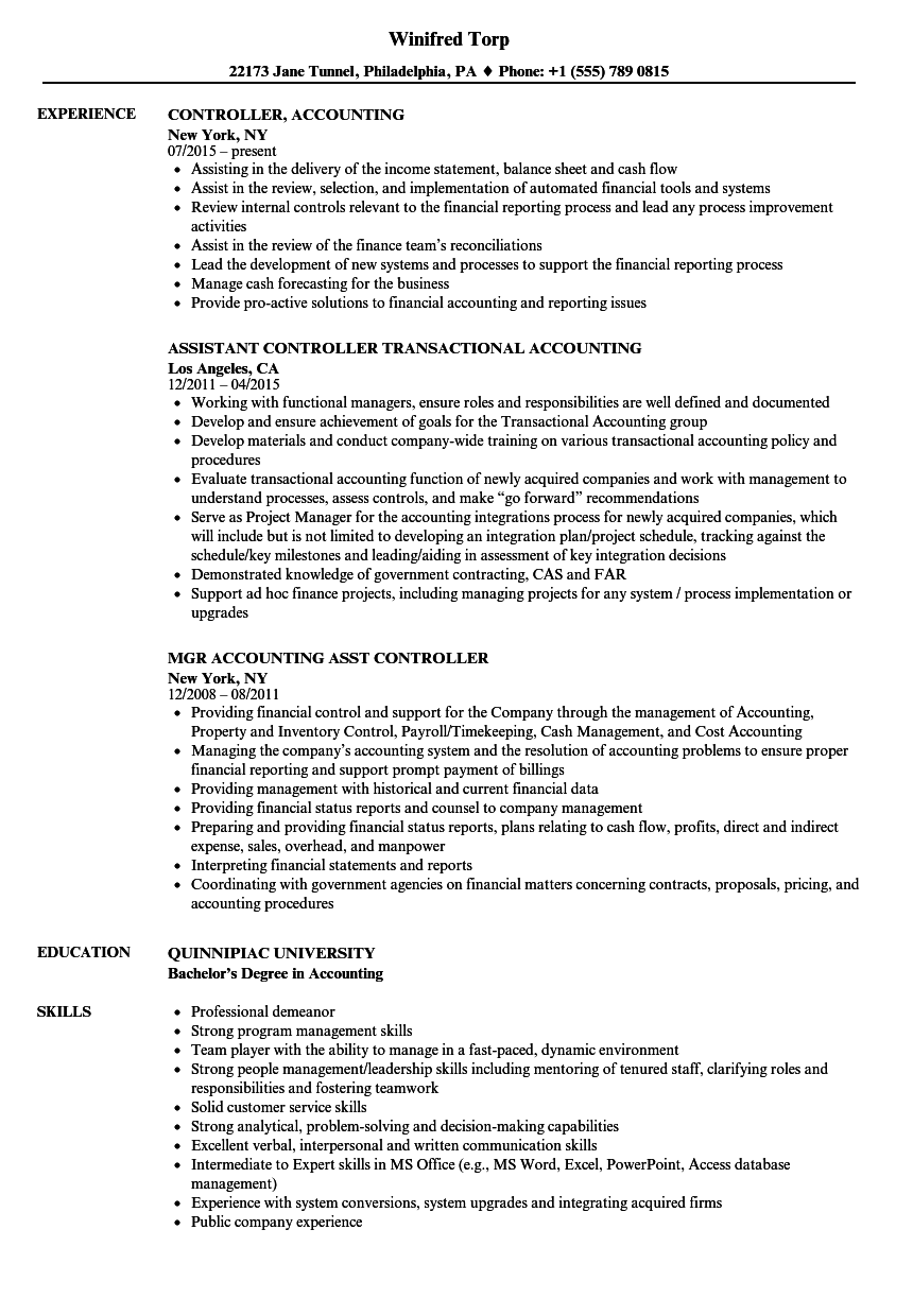 Controller Accounting Resume Samples Velvet Jobs