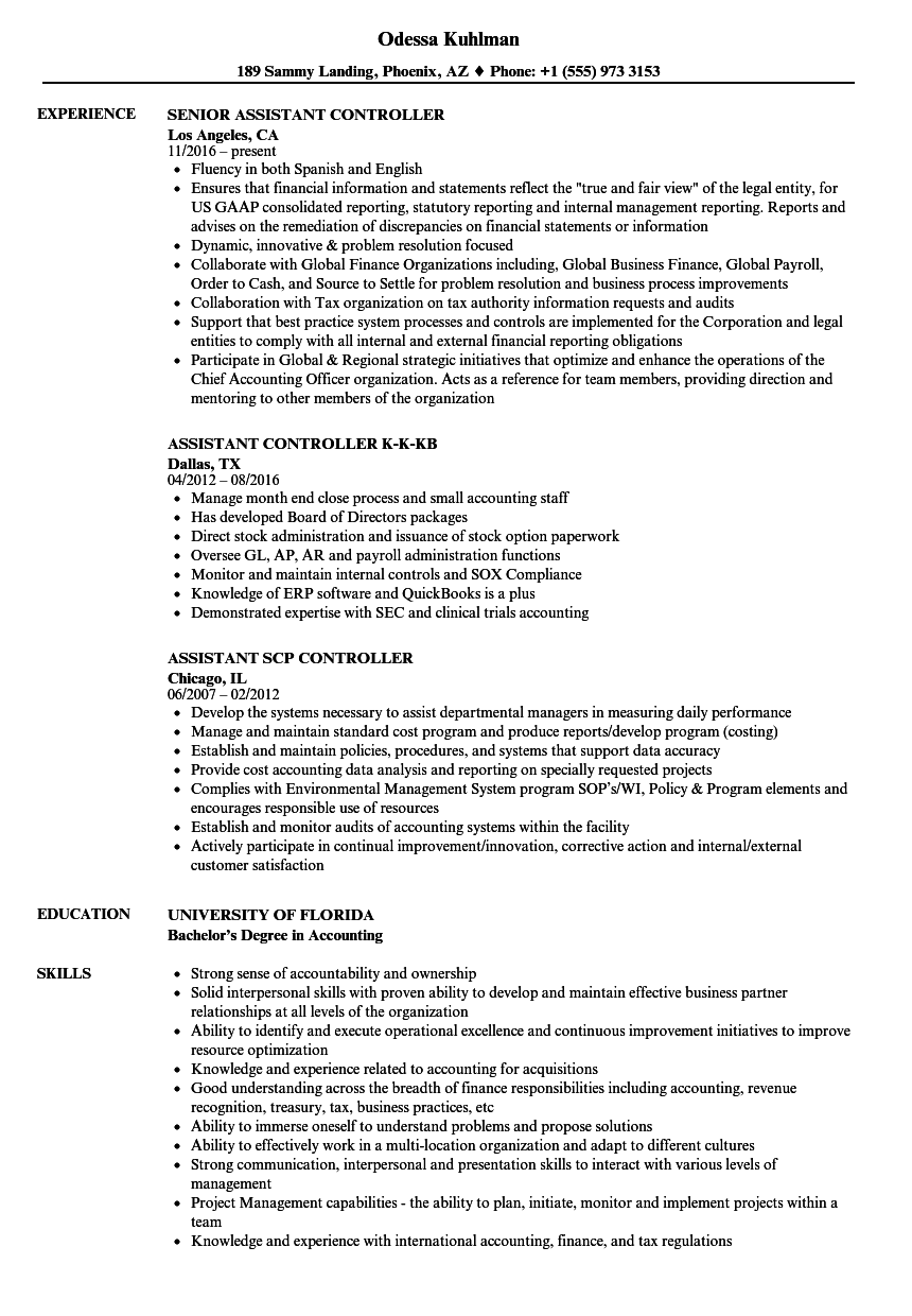Controller Assistant Resume Samples | Velvet Jobs