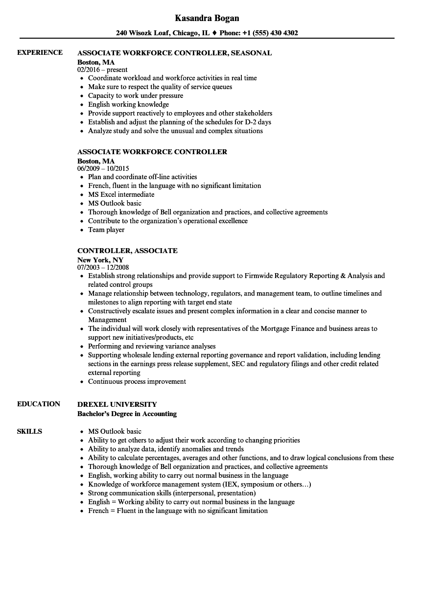 controller associate resume samples velvet jobs
