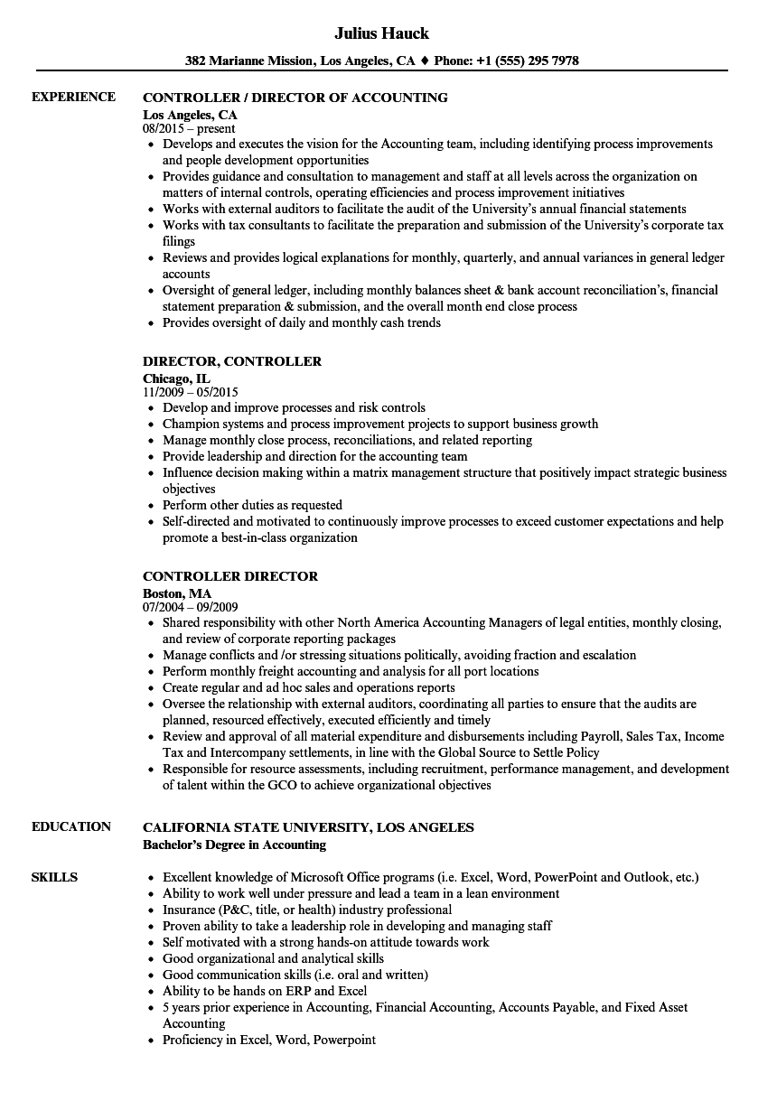 controller director resume samples velvet jobs