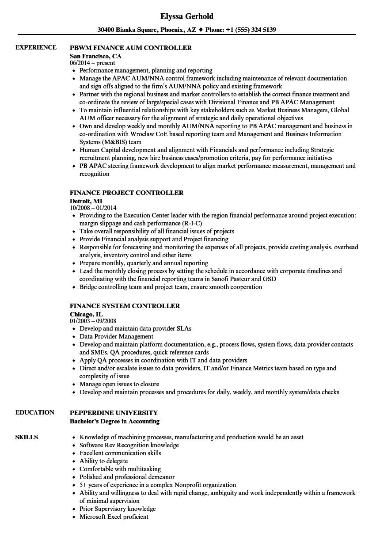 Controller Finance Resume Samples   Velvet Jobs