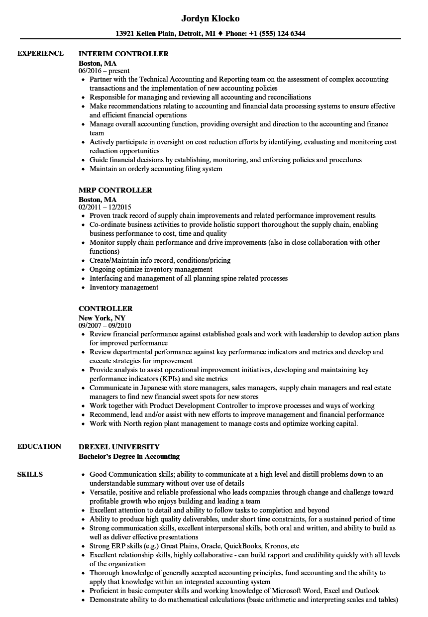 Controller Resume Samples Velvet Jobs