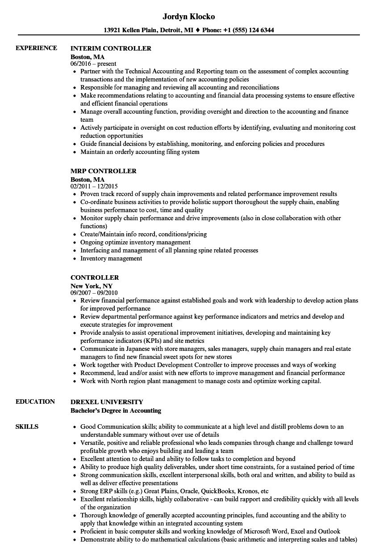 Controller Resume Example Solarfm