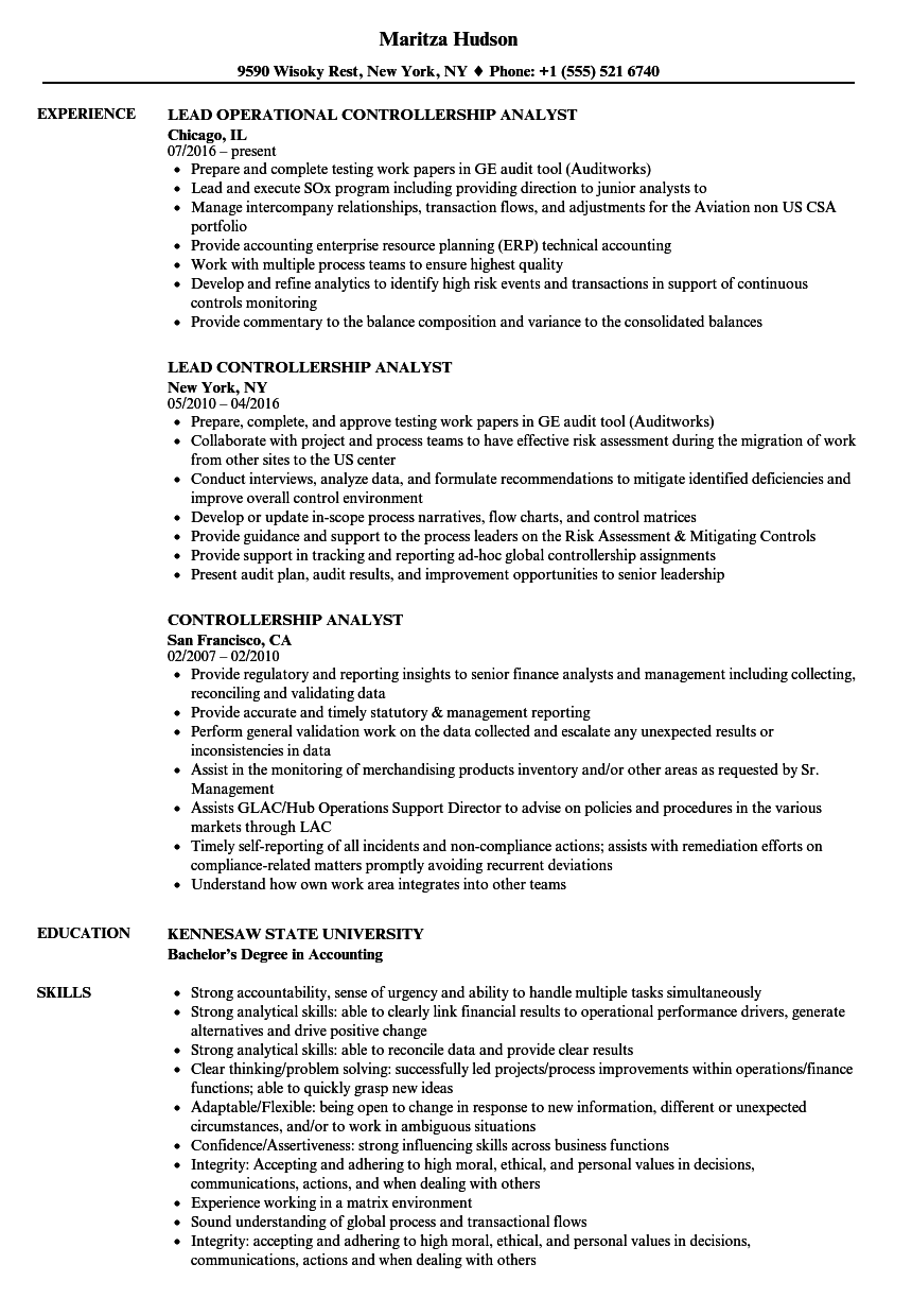 controllership analyst resume samples
