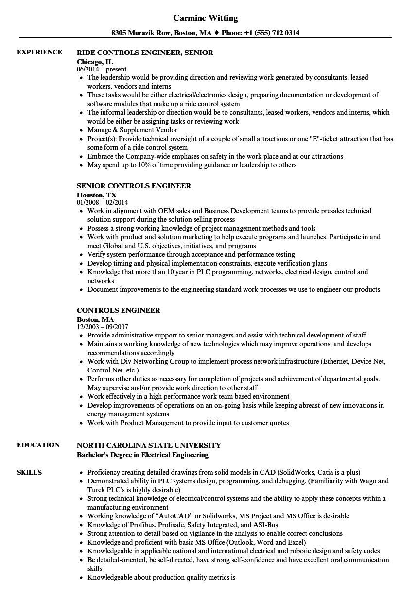 Lovely Velvet Jobs  Controls Engineer Resume